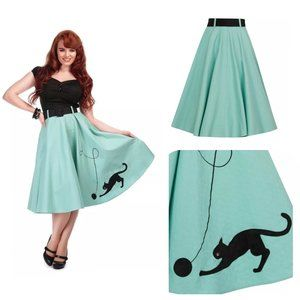 Collectif Kitty Kat Swing Skirt in Mint